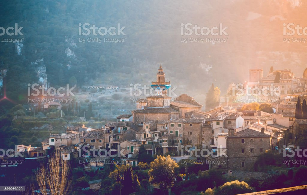 Valldemossa sunset, Mallorca stock photo