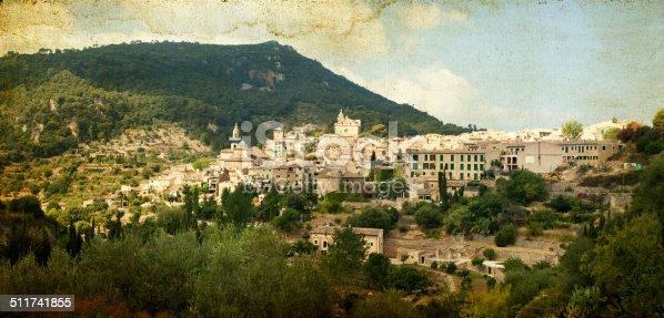 Vintage photo of Valldemossa village, Mallorca, Balearic island, Spain