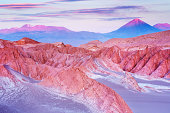 'Valle de la Muerte with Volcan Licancabur in the Atacama Desert, northern Chile, at sunset.'