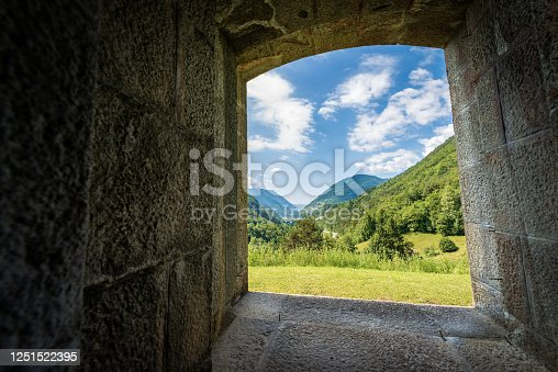 Valle del Chiese (Chiese valley), view from the window of the Forte Larino, Austro-Hungarian military fortress. Lardaro village, Trento Province, Trentino Alto Adige, Italy, Europe