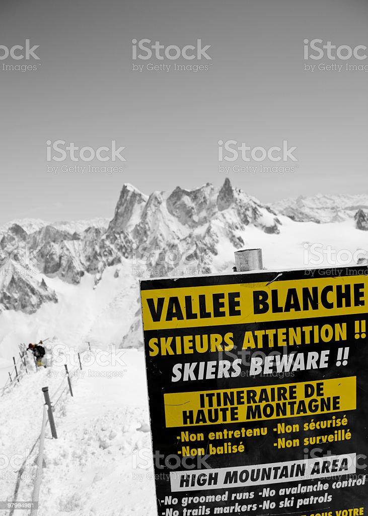 Vallee Blanche - Extreme ski area royalty free stockfoto