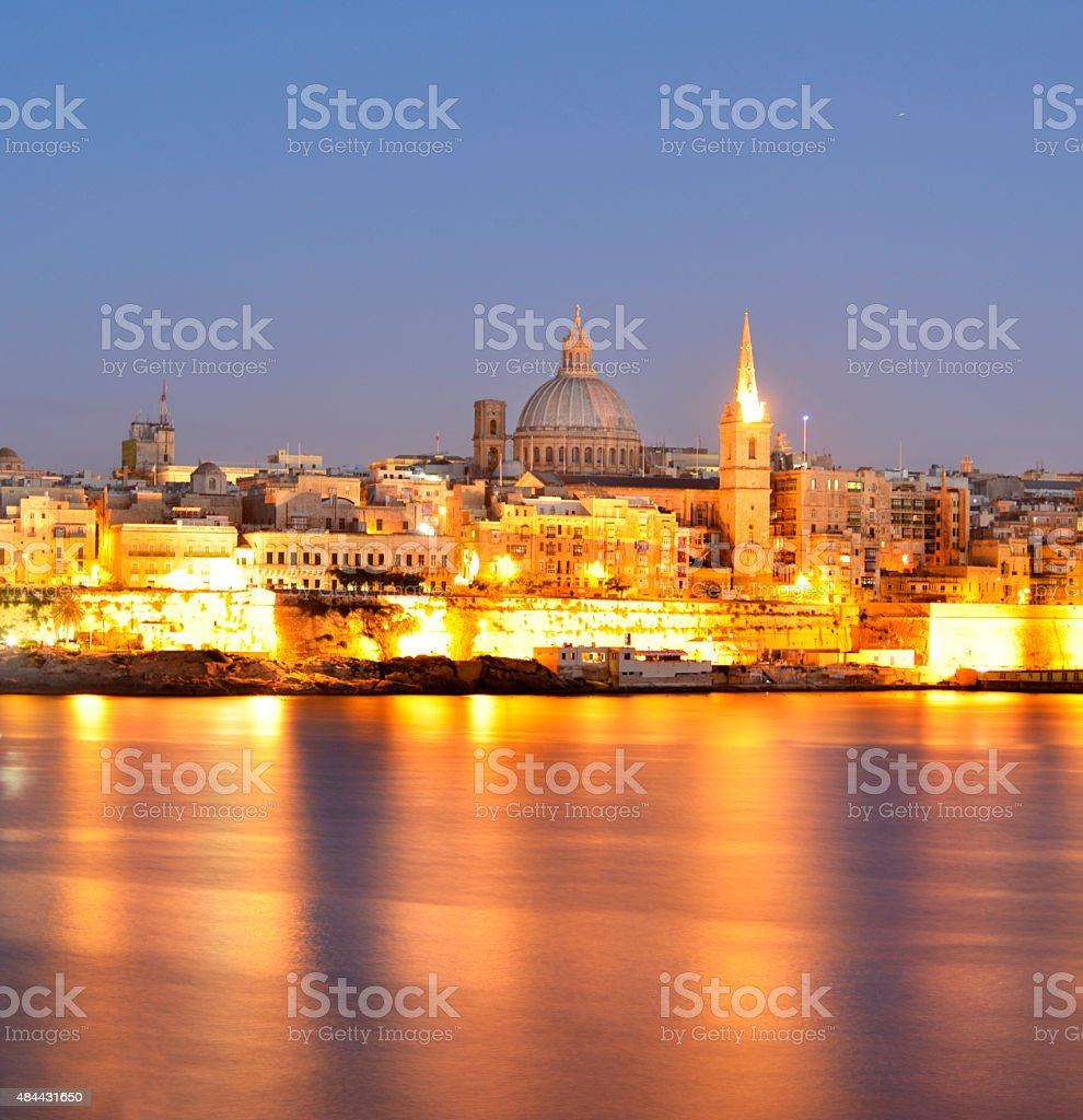 Valleta skyline as viewed from Selema accros the grand harbour. stock photo