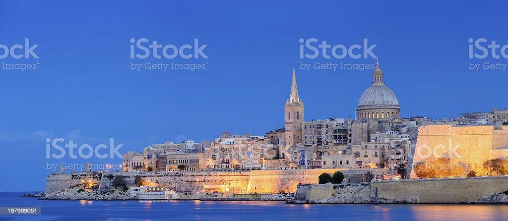 Valletta City Skyline at Night in Malta stock photo
