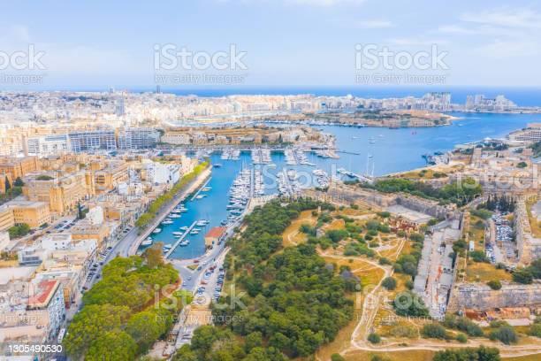 Photo of Valletta, Malta - Aerial panoramic skyline day time view of Valletta, Sliema, Gzira, Ta' Xbiex, Msida.
