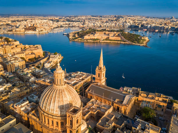 Valletta, Malta - Aerial view of Our Lady of Mount Carmel church, St.Paul's Cathedral and Manoel Island stock photo