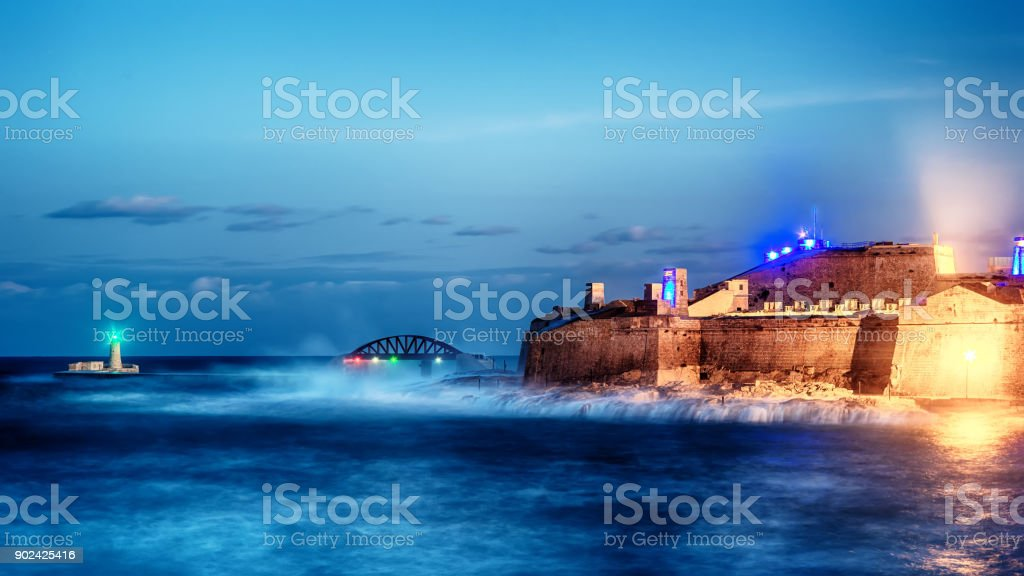 Valletta, Malta: Fort Saint Elmo, Forti Sant Lermu at night stock photo
