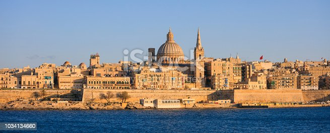 istock Valletta, Malta, Skyline in the afternoon with the dome of the Carmelite Church and the tower of St Paul`s 1034134660