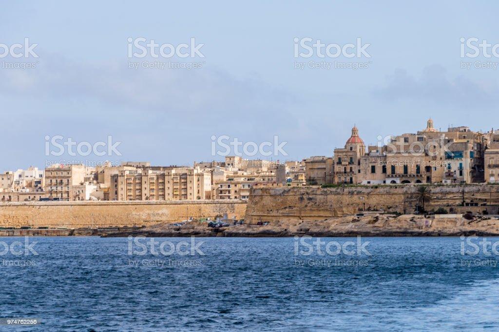 Valletta, Malta, skyline od capitol city with blue cloudy sky as background stock photo