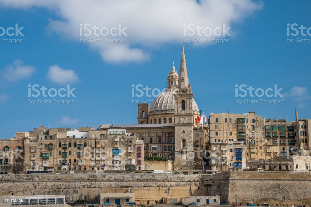 Valletta, Malta, skyline of capitol city with blue sky and clouds as background stock photo