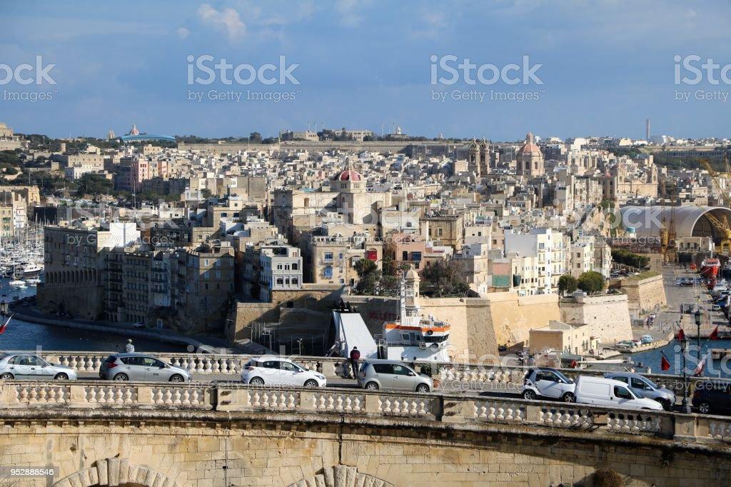 Valletta old city wall and Vittoriosa Il-Birgu in Malta stock photo