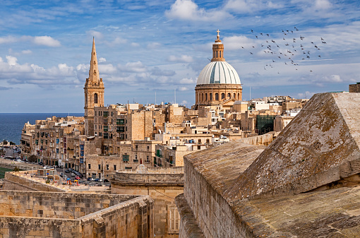 Valletta old town and Cathedral of Saint Paul, Malta
