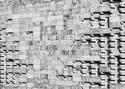 Valletta, Malta - June 29, 2018: Elevated detail of the parliament building wall designed by Renzo Piano in Valletta, Malta.