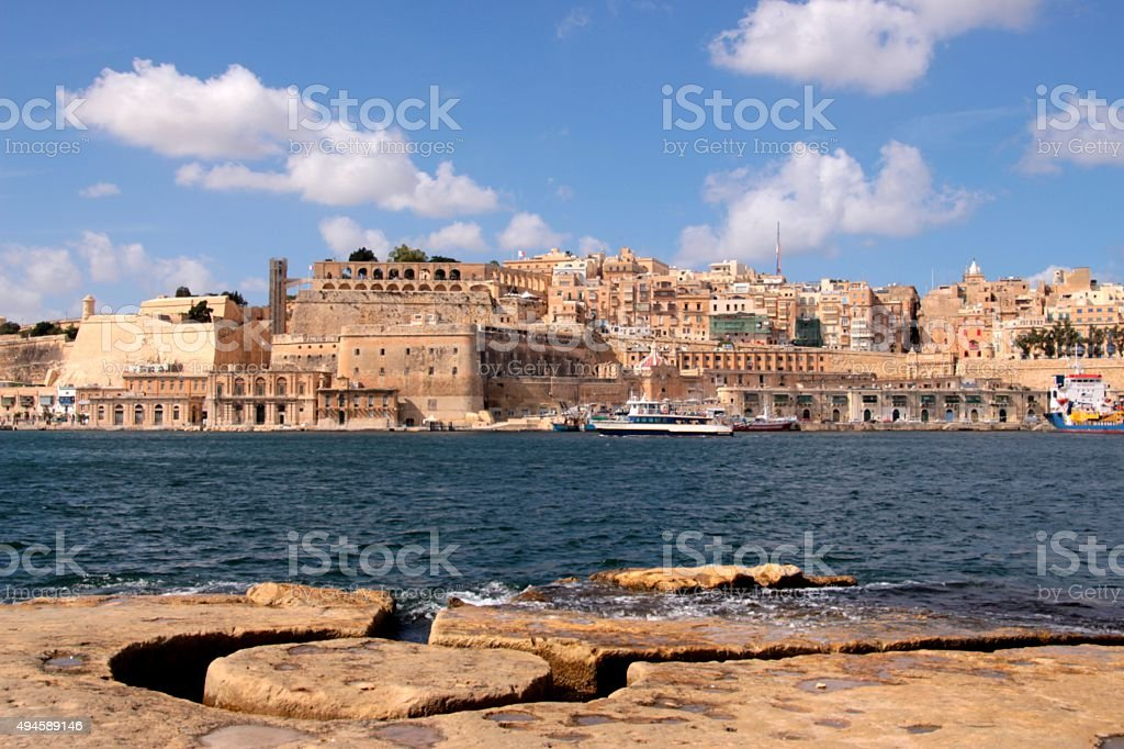 Valletta view from Grand harbor in Malta stock photo