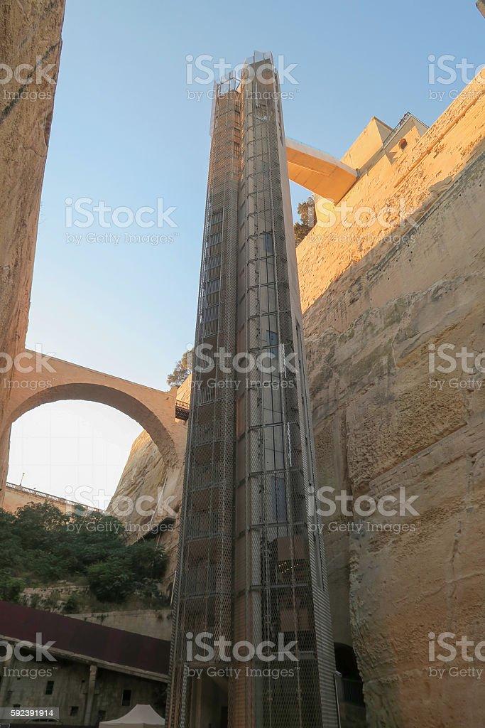 Valletta,Malta. Barrakka lift from Grand Harbour to Upper Barrakka Gardens. stock photo