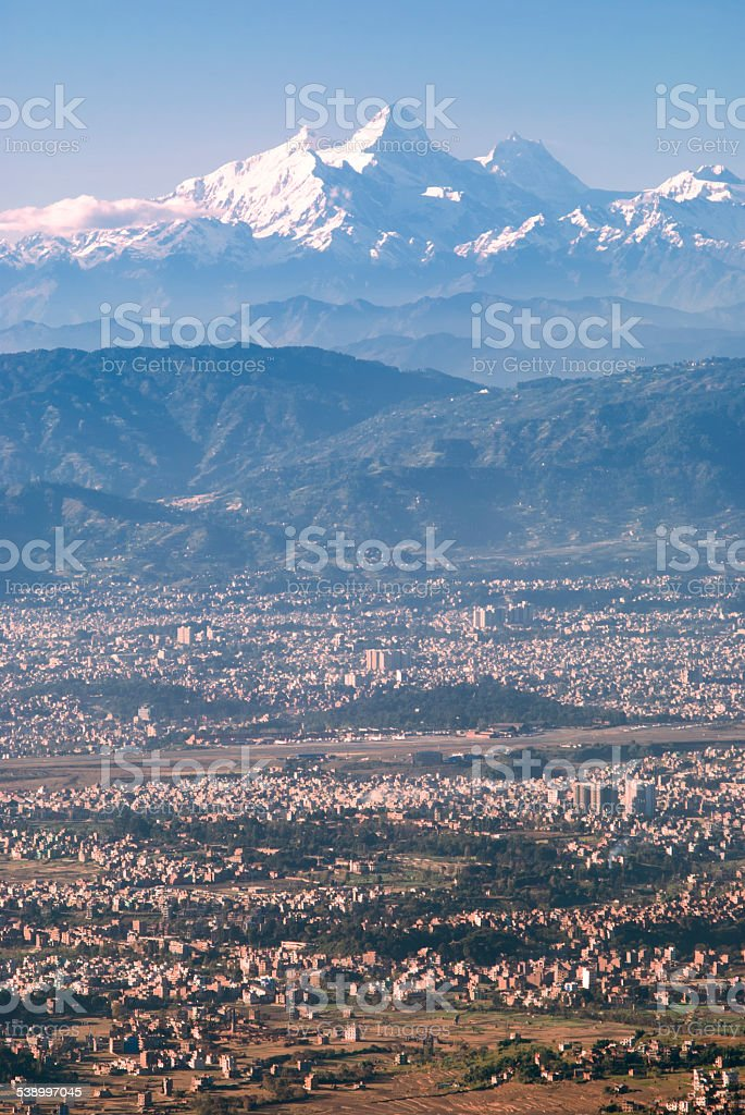 Valley and mountains stock photo
