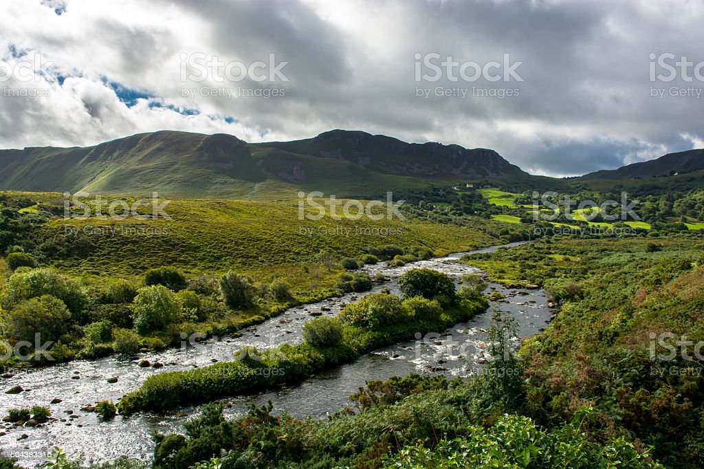 Valley and River at the Ring of Kerry in Ireland stock photo