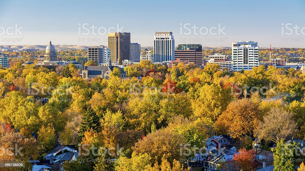 Valley filled with autumn in the city of trees stock photo