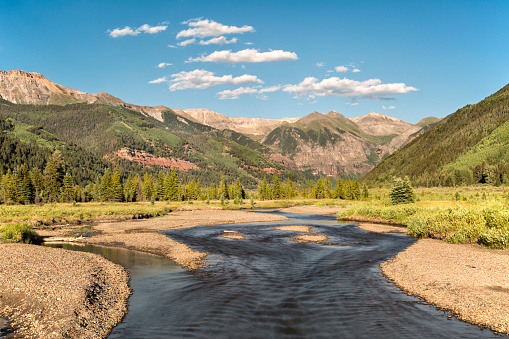 The Valley Floor located before town in Telluride is a preserved and protected area which allows for hiking, biking, cross-country skiing and fishing along the San Miguel River.