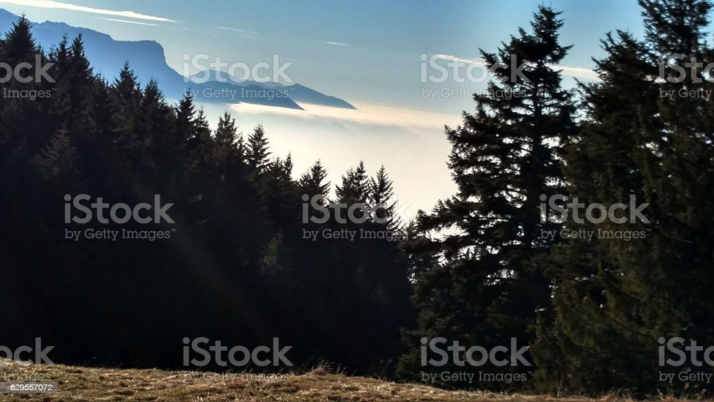 valley fogs filling Lake Geneva Basin Les Pleiades Vaud Swwitzerland stock photo