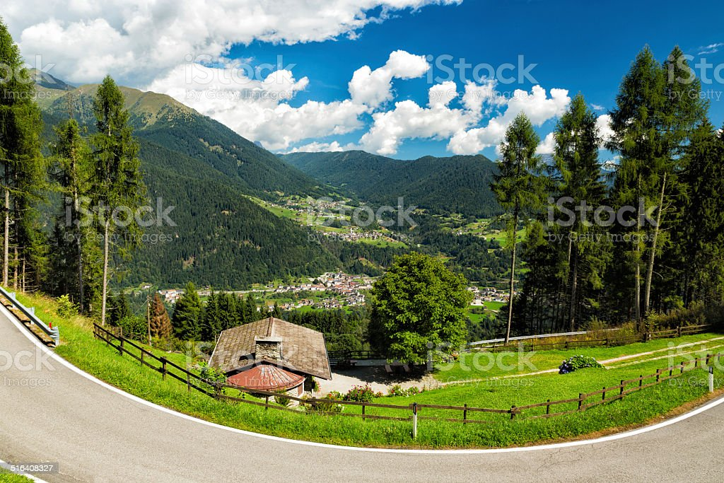 Valley in South Tyrol, Dolomites, Italy stock photo