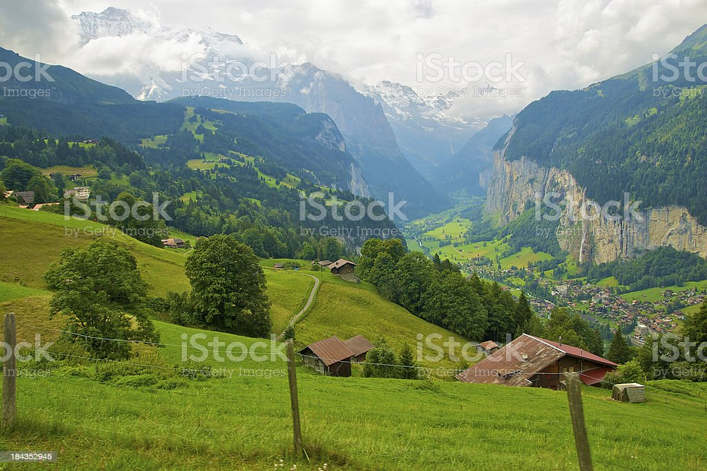 Valley in swiss alps royalty-free stock photo