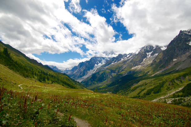 A Valley in the Alps stock photo