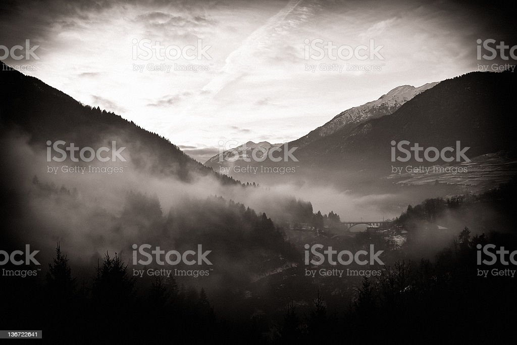 Valley in the Fog, sepia toned. royalty-free stock photo