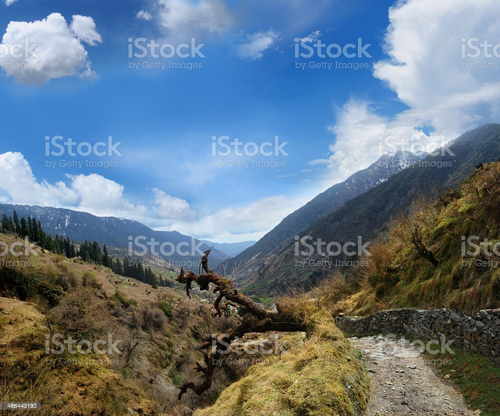 valley in the Himalayas stock photo