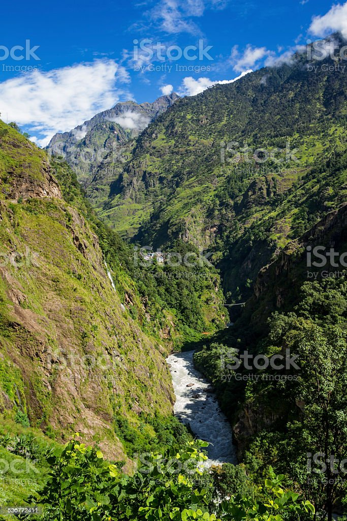 Valley in the Nepal Himalayas stock photo