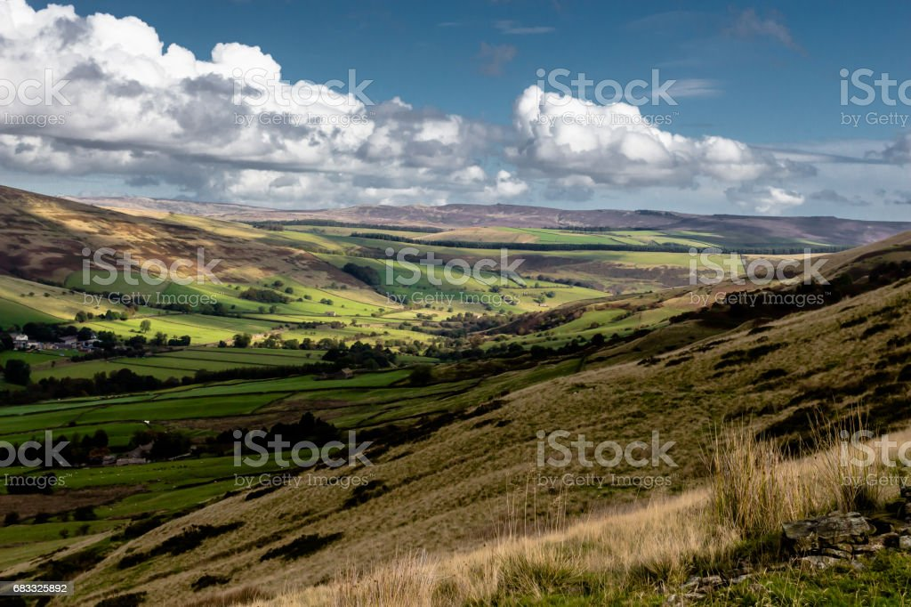Valley in the Peak District, UK stock photo