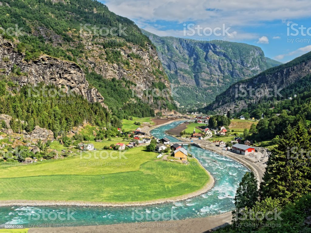 Valley Landscape Norway from Flamsbana train stock photo