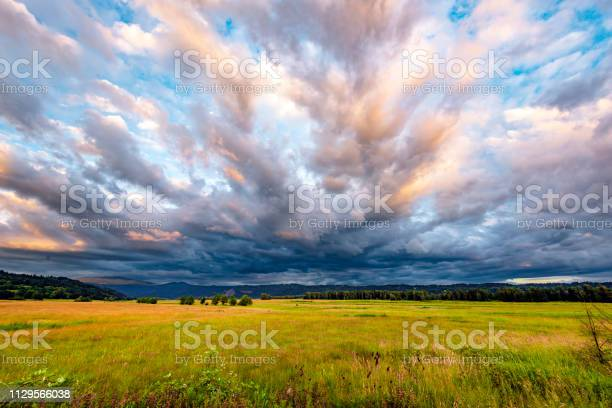 Photo of Valley landscape with yellowed grass and bizarre clouds in the floodplain of the Columbia River in Columbia Gorge National Reserve