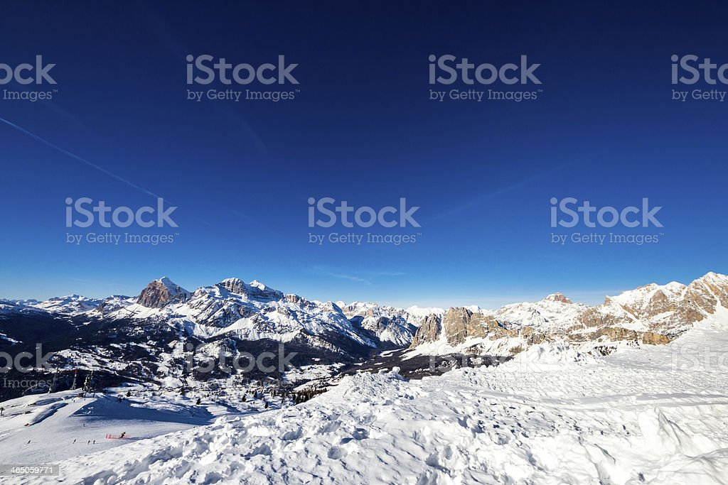 valley of Cortina, with Tofane and Cristallo, from the peak stock photo