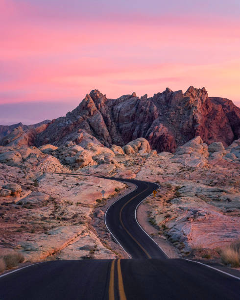 Valley of Fire at Sunset Winding road through the valley of fire at sunset nevada stock pictures, royalty-free photos & images