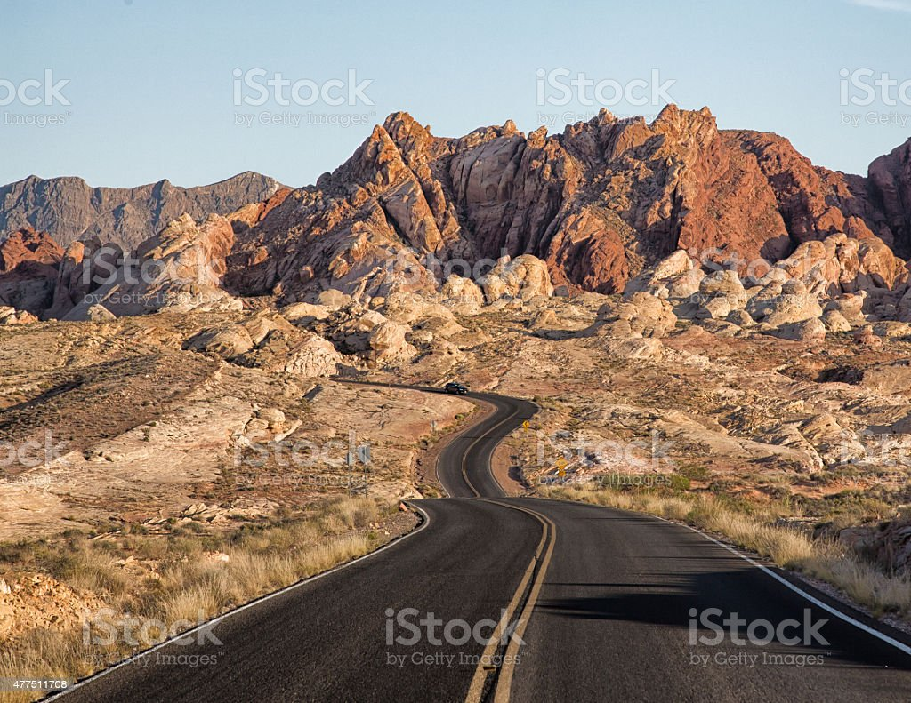 Valley of Fire Drive at Sunset stock photo