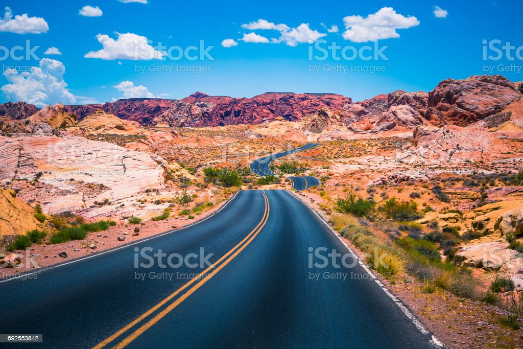 Valley of Fire panoramic road - Nevada USA stock photo
