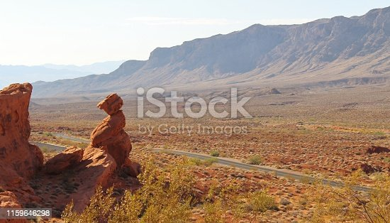 istock Valley of Fire Rock Tower formation along a Road 1159646298