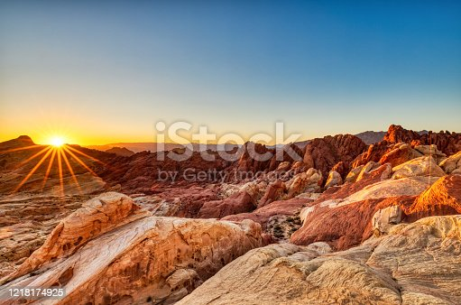 Valley of Fire State Park Landscape at Sunrise near Las Vegas, Nevada, USA