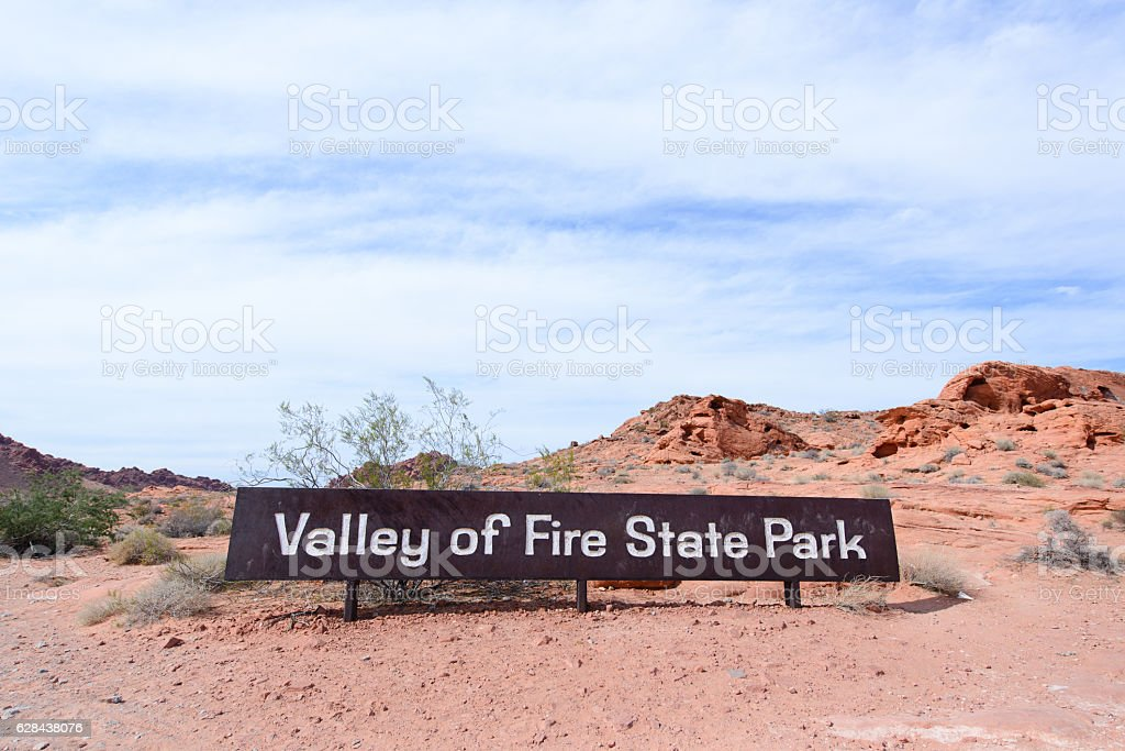Valley of fire state park sign stock photo