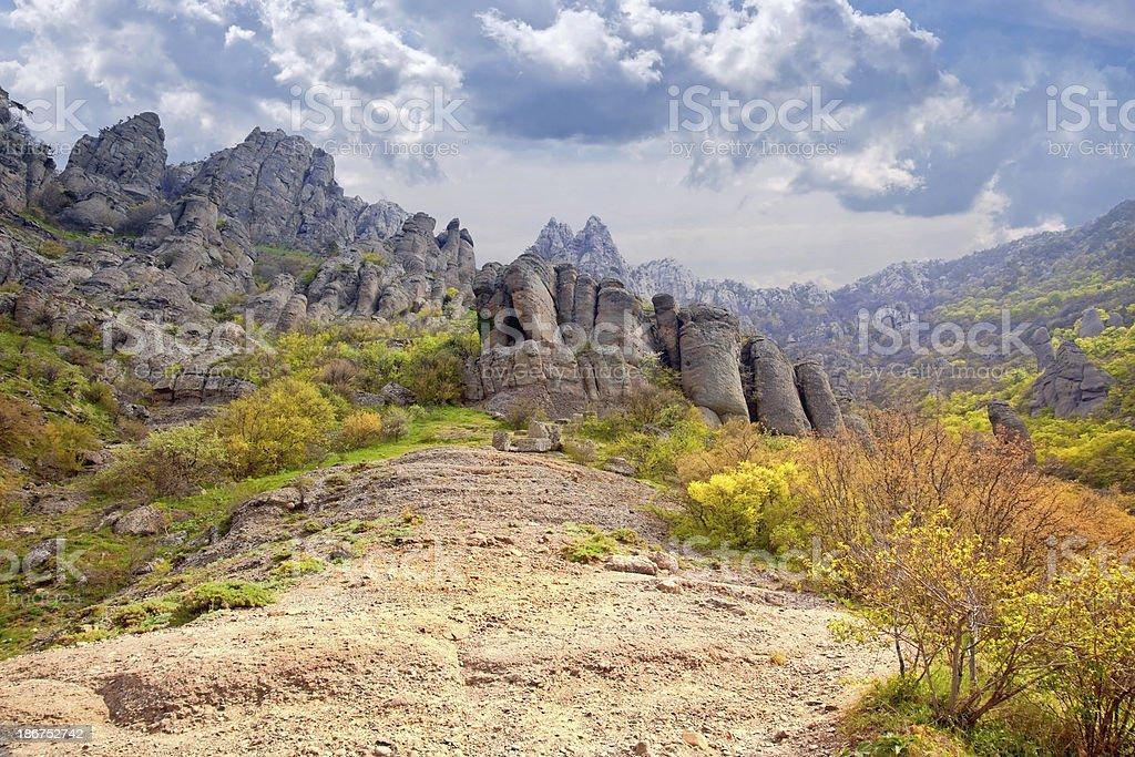 Valley of ghosts. Demerdzhi royalty-free stock photo