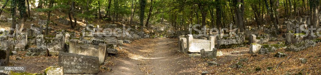 Valley of Josaphat in Crimea. Karaite cemetery stock photo
