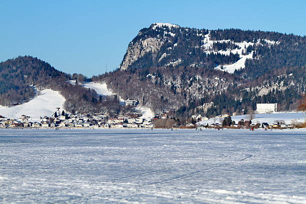 valley of joux and lake stock photo
