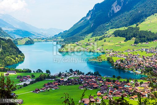 Valley of Lake Lungern or Lungerersee in Obwalden, Switzerland.