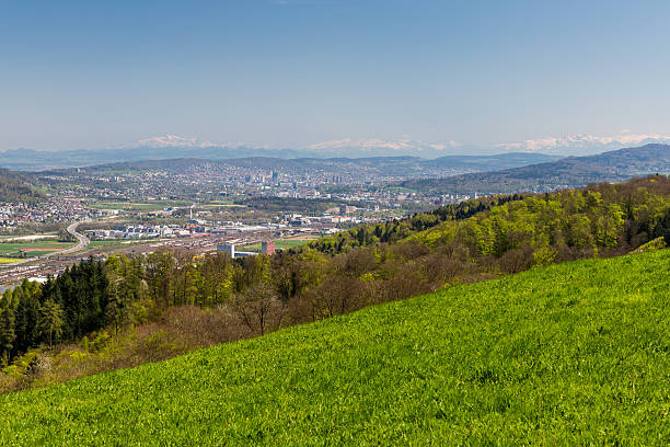 Valley of Limmat overlook Valley of Limmat overlook between Zurich and Baden in the canton of Aargau, Switzerland limmat river stock pictures, royalty-free photos & images