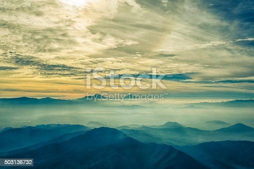 Aerial view of the Valley of Mexico, in a stunning sunrise.