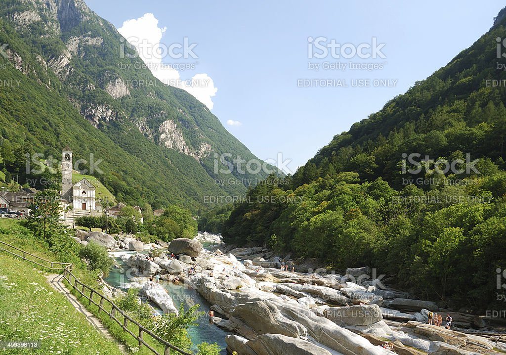 Valley of mountain river Verzaska in summer Swiss Alps. stock photo