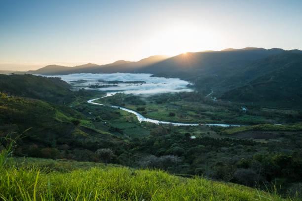 Valley of Orosi at sunrise stock photo