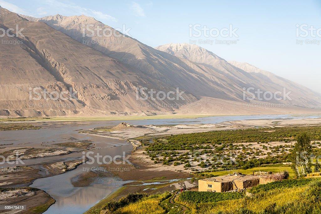 Valley of Pyandzh river stock photo