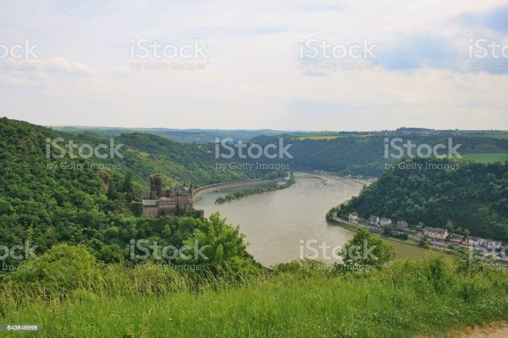 Valley of rhine with Loreley stock photo