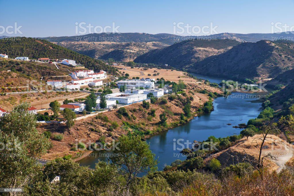 Valley of river Guadiana. Mertola. Portugal stock photo